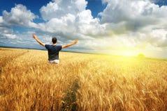 Hombre en prado amarillo Foto de archivo libre de regalías