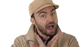Hombre en ropa de la estación del demi nunca que habla con usted para hacerlo en el fondo blanco fotos de archivo