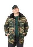 Hombre en ropa militar Imagenes de archivo