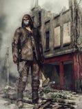 Hombre en ruinas de la ciudad Imagenes de archivo