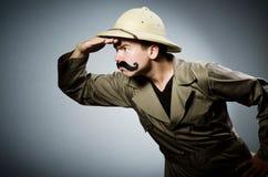 Hombre en sombrero del safari Fotos de archivo