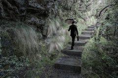 Hombre en técnicas mixtas del bosque del verano Imagen de archivo libre de regalías
