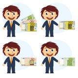 Hombre en traje y dinero a disposición Stock de ilustración