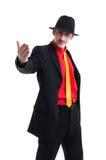 Hombre en traje y sombrero en blanco Fotos de archivo