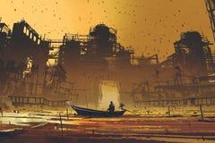 Hombre en un barco que flota en el mar contra edificios abandonados Fotos de archivo