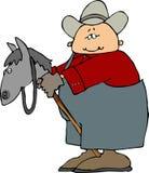 Hombre en un caballo de palillo stock de ilustración