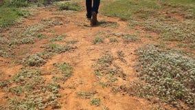 Hombre en un camino de tierra almacen de metraje de vídeo
