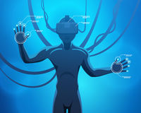 Hombre en un casco de la realidad virtual Imagen de archivo libre de regalías