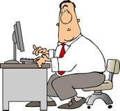 Hombre en un escritorio stock de ilustración