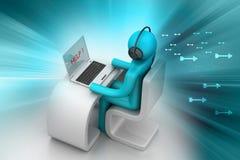 Hombre en un escritorio moderno con el ordenador portátil Imagen de archivo