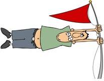 Hombre en un fuerte viento ilustración del vector