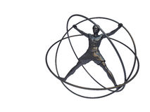 Hombre en un simulador - un giroscopio aislado ilustración del vector