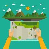 Hombre en un viaje que camina que sostiene un mapa libre illustration