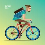 Hombre en una bici del engranaje del arreglo ilustración del vector