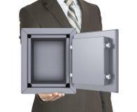 Hombre en una caja fuerte abierta de la tenencia del traje imagen de archivo