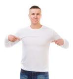 Hombre en una camisa blanca con las mangas largas Imagen de archivo libre de regalías
