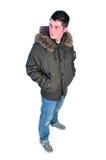 Hombre en una capa del invierno Imagenes de archivo
