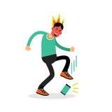 Hombre en una furia que golpea su ejemplo del vector con el pie del teléfono ilustración del vector
