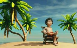 Hombre en una isla tropical Imagen de archivo libre de regalías
