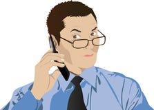 Hombre en vidrios con un teléfono celular Fotos de archivo libres de regalías