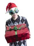 Hombre en vidrios de la fiesta de Navidad Fotografía de archivo libre de regalías