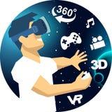 Hombre en vidrios de un vr en iconos del espacio de la realidad virtual 3d Foto de archivo libre de regalías