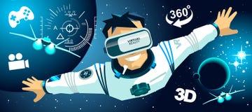 Hombre en vidrios de un vr en iconos del espacio de la realidad virtual 3d Fotos de archivo