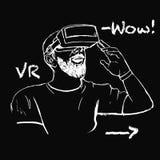 Hombre en vidrios de VR Foto de archivo