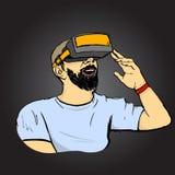 Hombre en vidrios de VR Imagen de archivo
