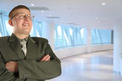 Hombre en vidrios en el centro de asunto, collage Fotografía de archivo