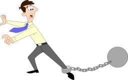 Hombre encadenado con una bola stock de ilustración