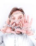 Hombre encadenado que grita fotos de archivo libres de regalías