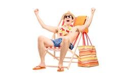 Hombre encantado que gesticula felicidad Foto de archivo libre de regalías