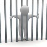 Hombre encarcelado en célula ilustración del vector