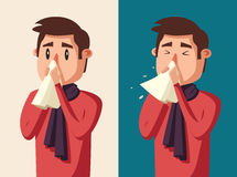 Hombre enfermo Carácter infeliz Ilustración de la historieta del vector Fotografía de archivo