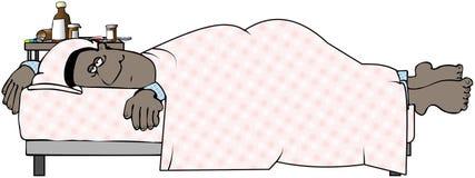 Hombre enfermo en cama Imagen de archivo