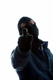 Hombre enmascarado con el arma fotos de archivo
