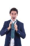 Hombre enojado con el lazo atado expresión Fotografía de archivo