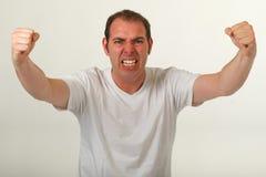 Hombre enojado con los puños balded Fotografía de archivo libre de regalías