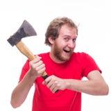 Hombre enojado con un hacha Foto de archivo libre de regalías