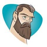 Hombre enojado de la historieta con la barba Foto de archivo libre de regalías