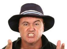 Hombre enojado en sombrero foto de archivo libre de regalías