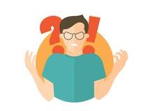 Hombre enojado en vidrios Individuo en rabia Icono plano del diseño Ejemplo simplemente editable del vector Fotos de archivo