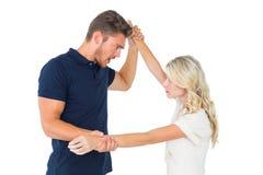 Hombre enojado que domina a su novia Fotografía de archivo