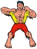 Hombre enojado que rasga de la camisa ilustración del vector