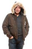 Hombre envejecido medio en capa del invierno fotografía de archivo libre de regalías