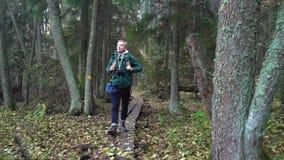 Hombre envejecido medio en un sendero ecológico a través de un bosque del otoño en un parque natural almacen de metraje de vídeo