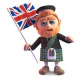 Hombre escocés en la falda escocesa que agita la bandera británica de Union Jack, ejemplo 3d stock de ilustración