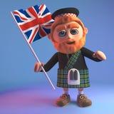 Hombre escocés en ondas de la falda escocesa la bandera británica de Union Jack, ejemplo 3d stock de ilustración