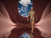 Hombre espiritual futuro stock de ilustración